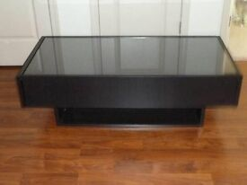 IKEA coffee table with glass top and 2 storage drawers