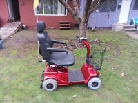 FORTRESS 1700 (4) WHEEL RED MOBILITY SCOOTER