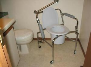 "CLEAN INVACARE ""DROP HANDLE"" WHEELED COMMODE FOR SALE"