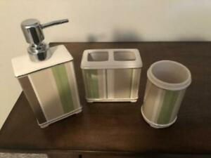 SPRINGMAID 3 Piece Bathroom Set - TUMBLER, SOAP PUMP, TOOTHBRUSH