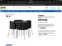 Fusion Dinning Room Table Seats 4