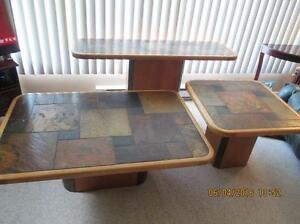 Set of 3 livingroom tables, maple and stone top