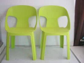 2x Childrens Chairs Green