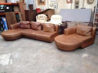 'NATUZZI' GENUINE ITALIAN TAN LEATHER CORNER SOFA & CHAISE LONGUE ~~ MAY DELIVER TO WEST MIDLANDS