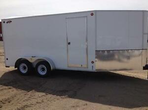 2016 CJay 7x14 Cargo Trailer with Barn Doors (White) -3467