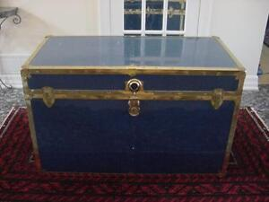 ExLrg Blue steel Cedar Lined trunk, lightly used