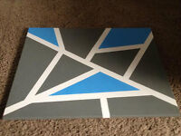Blue and Grey Masking Tape Abstract Art
