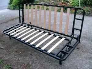 Like New Black Metal Frame Futon With Double Mattress
