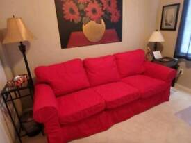 Ikea Ektorp Cord 3 Seater Sofa in Red, DELIVERY AVAILABLE