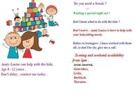 Aunty Louise , Babysitter for ages 0-15 years. Evening and Weekend Availability