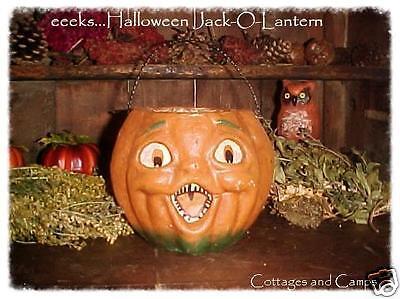 HALLOWEEN JACK-O-LANTERN Orange Pumpkin VTG Paper Mache Style
