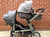 Tandem double pram pushchair mothercare genie