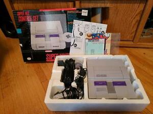 Super Nintendo system in box