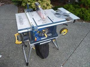like new 10 inch table saw with stand and dust collection system