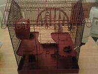 Large red and black hamster house
