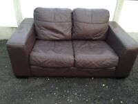 3 and 2 seather Brown Leather Sofa