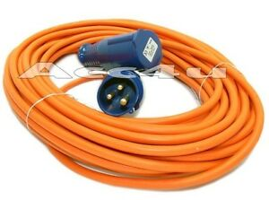 with a 16a site mains plug and 16a   the maypole electric 230v mains hook  up 25m extension lead cable is in stock and sent on a