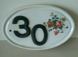 Quality ceramic house number 30 decorative wall plaque