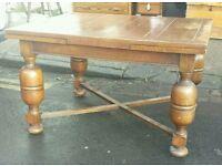Large solid oak vintage draw leaf table