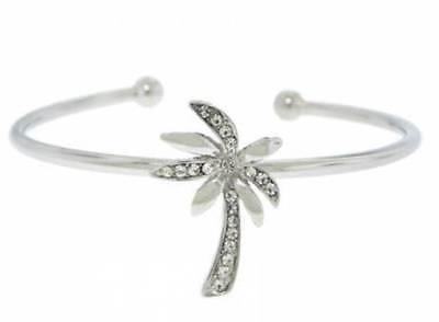 bracelet white gold plate white crystal palm tree bangle cuff fits all fine (All Fine Jewelry Bracelet)