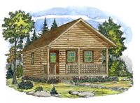 Log cabin packages made from real logs
