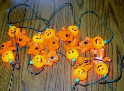 Vintage Halloween MCM Blow Mold ~ Pumpkin Scarecrow ~ String Lights ~ Set of 10