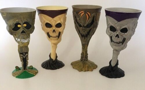Set of 4 Skull Mummy Goblets Creepy Fun Spooky Party Halloween Undead Boo