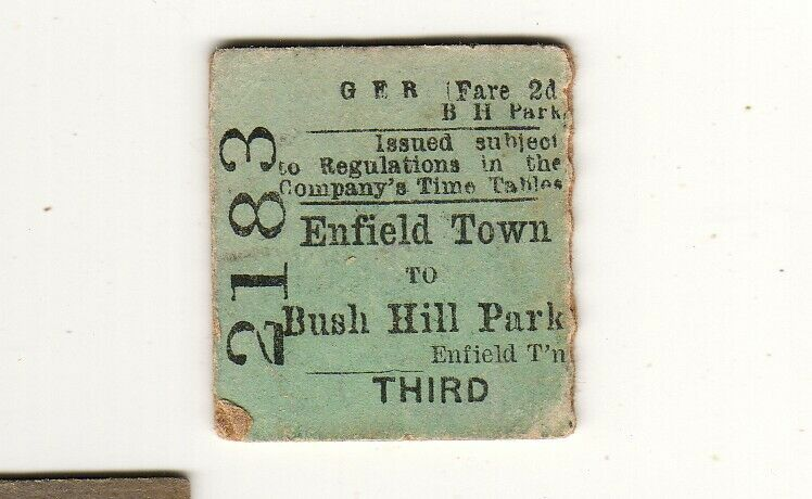 Railway ticket GER Enfield Town - Bush Hill Park 1897