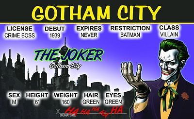 The JOKER  Gotham City Batman Villain card Drivers License (Gotham City Halloween)