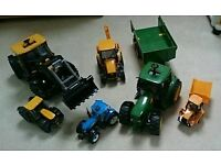 Selection of diggers, tractors etc