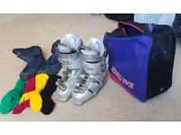 Head ski boots size 5 and bag and socks and moon boots