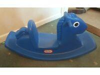 Blue little tikes rocking horse