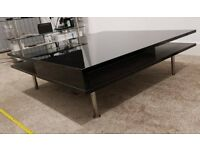 Ikea black 95cm x 95cm coffee table with push out drawers and storage compartments
