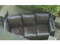 Free 3 seats leather sofa , free to a good home