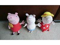 Peppa Pig, George Pig and Mummy Pig Soft Toys.