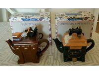 2 COLLECTABLE TEA POTS HANDMADE