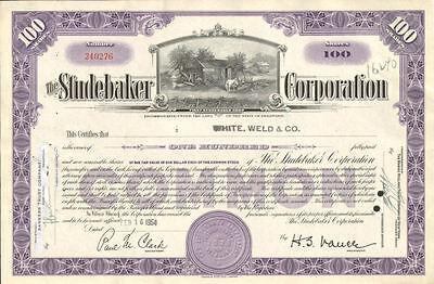 The Studebaker Corporation   vintage auto car stock certificate