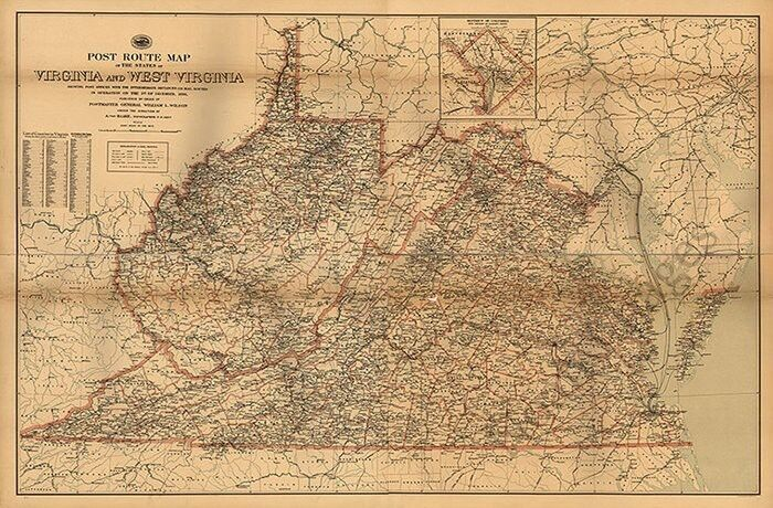 Post route map of WV and VA c1896 24x36