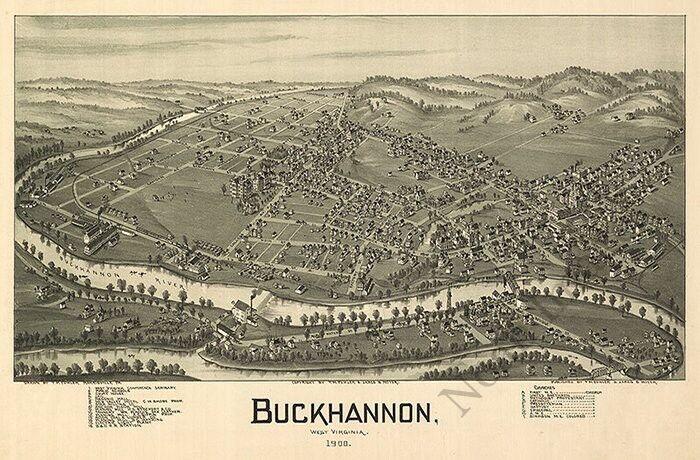 Panoramic map of Buckhannon WV c1900 24x36