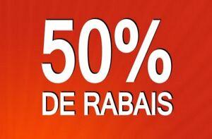 50% sur toute la marchandise en magasin