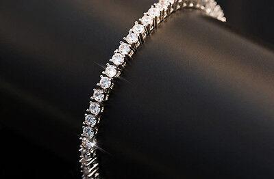 3.25Ct Diamond Tennis Bracelet 7.25 One Row Round Diamonds 14K White Gold Finish