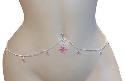 PINK Flower Gem Drop Belly Button Ring with 6 Gem Flowers Belly CHAIN