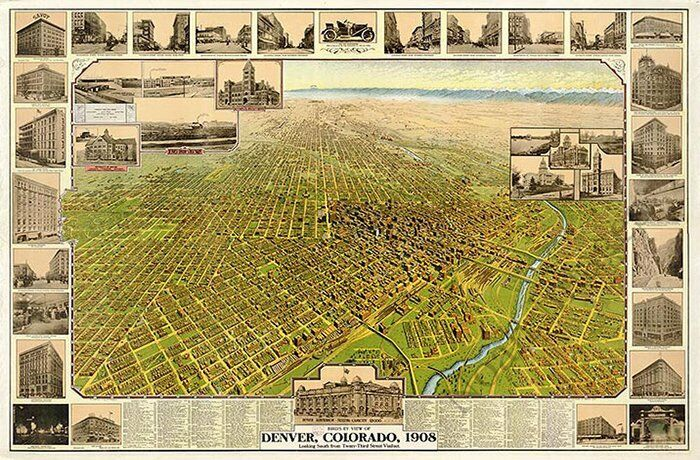 Denver Colorado panorama c1908 map 36x24