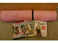 Exercise dvds and yoga mat