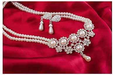 Bridal Set Rhinestone Earrings - Gorgeous Pearl and Silver Rhinestone Bridal Wedding Necklace and Earrings Set C3