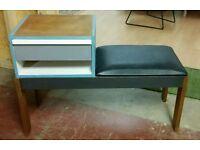 Gplan style teak retro phone table seat