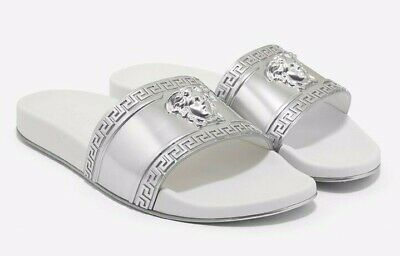 Versace Silver White Medusa Logo Cardinal Mens Flat Flop Pool Slide Sandals 41 8