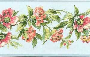 Baby-Blue-Pink-Rose-Flower-Floral-Leaf-Vine-Garland-Wall-paper-Border-WU0710B