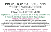 WEDDING DECOR FOR SALE ( CLOSING DOWN )