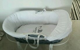 moses basket + x2 rocker stands canopy and brand new fitted sheets